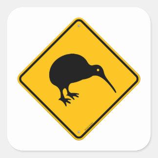 Signe jaune de kiwi sticker carré