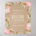 Signe rustique de réception de mariage des fleurs  posters