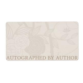 Signiert durch Autorn-Buchzeichen-Creme-Blume