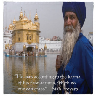 Sikhaktionen/Karma-Sprichwort Stoffserviette