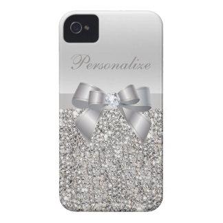 Silber DruckPaillette, Bogen u. Diamant Case-Mate iPhone 4 Hüllen