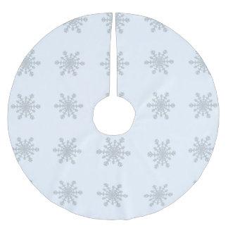 Silber farbige Schneeflocken auf eisigem Polyester Weihnachtsbaumdecke