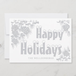 Silver Happy Holidays Typography