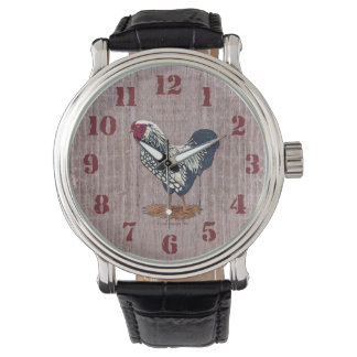 Silber geschnürte Wyandotte Hahn-Scheunen-Bretter Armbanduhr