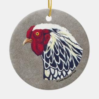 Silber geschnürter Wyandotte Hahn Rundes Keramik Ornament