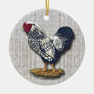 Silber geschnürtes Wyandotte Hahn-Licht Barnboards Rundes Keramik Ornament