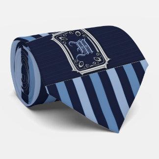 Silber mit blaue Streifen-Schnallen-Monogramm Individuelle Krawatten