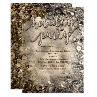 Silber-u. Goldfeiertags-Partysequins-Einladungen Karte