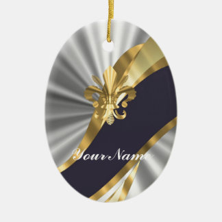 Silber u. GoldFleur Dy Lys Ovales Keramik Ornament