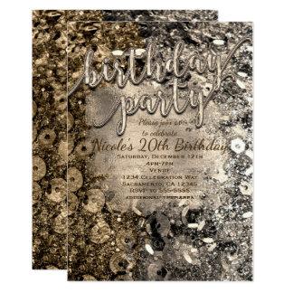 Silber-u. Goldgeburtstags-Partysequins-Einladungen Karte