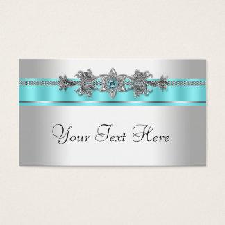 Silber und aquamarines Blau Visitenkarte