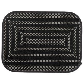 Silber und Schwarz-keltische rechteckige Spirale Autofußmatte