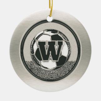Silbermedaille-Fußball-Monogramm-Buchstabe W Keramik Ornament