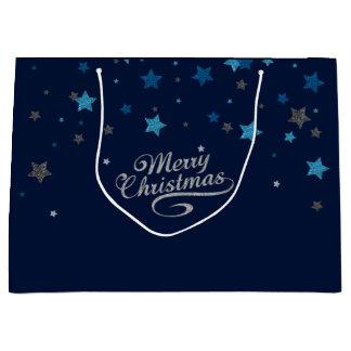 Silberne blaue Stern-frohe Große Geschenktüte