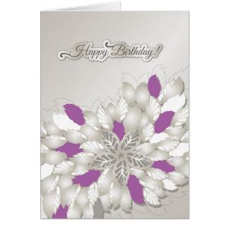 Silberne Blumenalles Gute zum Geburtstagkarte des Karte