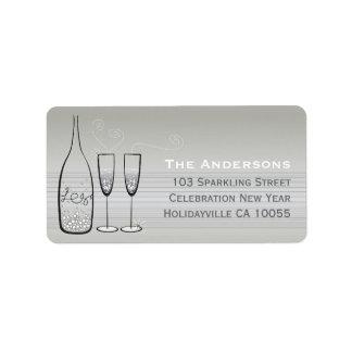 Silberne Champagne sprudelt Adressaufkleber