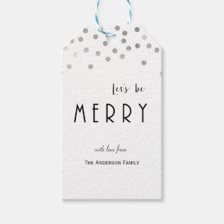 Silberne Confetti Weihnachtsgeschenkumbauten Geschenkanhänger