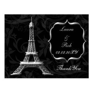 silberne Eiffelturm-Franzosen danken Ihnen Postkarte