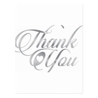 Silberne elegante danken Ihnen script Postkarte
