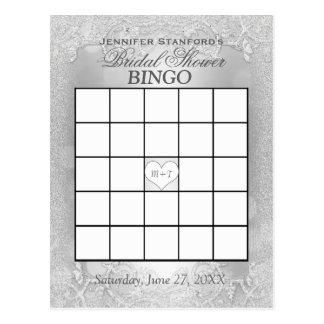 Silberne Eleganz des Brautparty-Bingo-  Postkarten