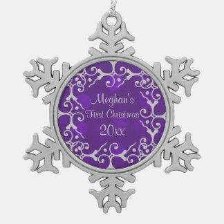 Silberne Eleganz-erste Schneeflocken Zinn-Ornament