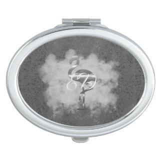 Silberne Flamingo-Wolke addieren Monogramm-Spiegel Schminkspiegel