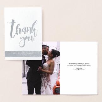 Silberne Folie, danke, Wedding Foto Folienkarte