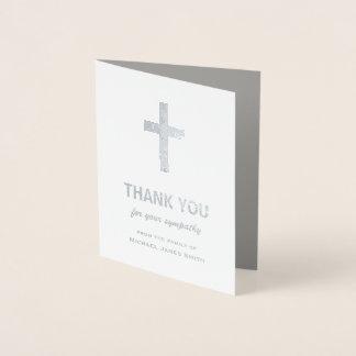 Silberne Folien-Beileid danken Ihnen, mit Kreuz zu Folienkarte