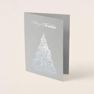 Silberne Folien-Weihnachtsbaum-Weihnachtskarte Folienkarte