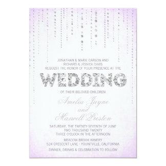 Silberne Glitter-Blick-Hochzeits-Einladung 12,7 X 17,8 Cm Einladungskarte