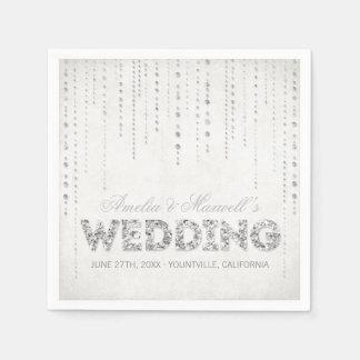 Silberne Glitter-Blick-Hochzeits-Servietten