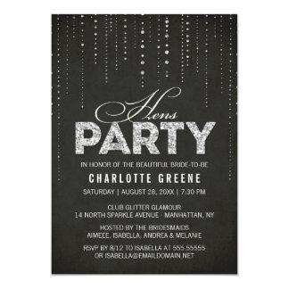 Silberne Glitter-Blick-Schwarz-Henne-Party 12,7 X 17,8 Cm Einladungskarte