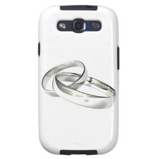 Silberne Hochzeits-Bänder Save the Date Galaxy SIII Schutzhüllen