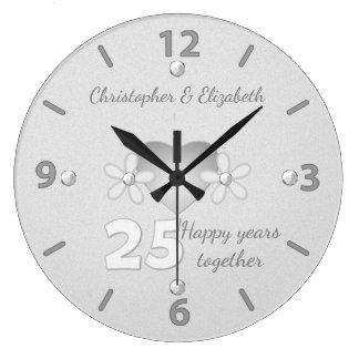 Silberne Hochzeitstag-Uhr Große Wanduhr