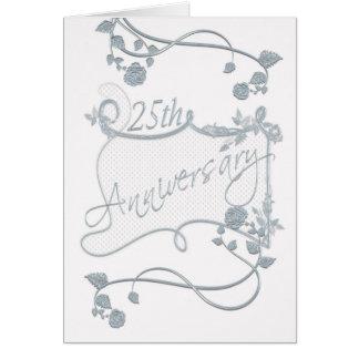 Silberne Jahrestags-Einladungs-Karte mit Rosen Grußkarte
