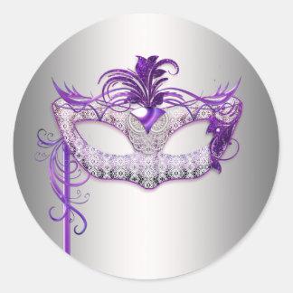 Silberne lila Maskerade-Party-Aufkleber Runder Aufkleber