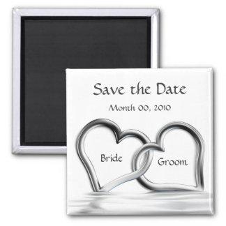 Silberne Magneten der Herzen Save the Date Quadratischer Magnet