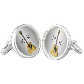 Silberne mit Monogramm Akustikgitarre Manschettenknöpfe