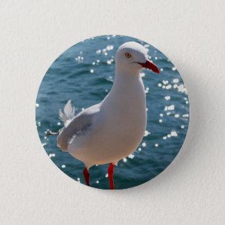 Silberne Möve Runder Button 5,7 Cm
