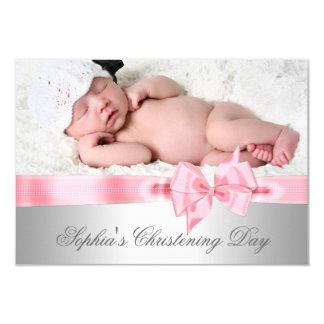 Silberne rosa Damast-Bogen-Mädchen-Foto-Taufe 8,9 X 12,7 Cm Einladungskarte