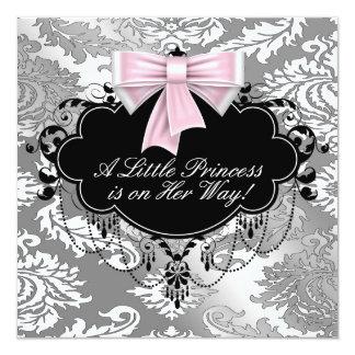 Silberne rosa schwarze Dusche Prinzessin-Baby Quadratische 13,3 Cm Einladungskarte