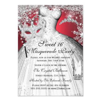 Silberne rote Prinzessin Masquerade Sweet 16 laden 12,7 X 17,8 Cm Einladungskarte