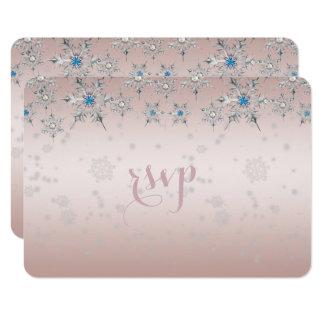 Silberne Schneeflocke-Kristallperlen-Rosa-Hochzeit 8,9 X 12,7 Cm Einladungskarte