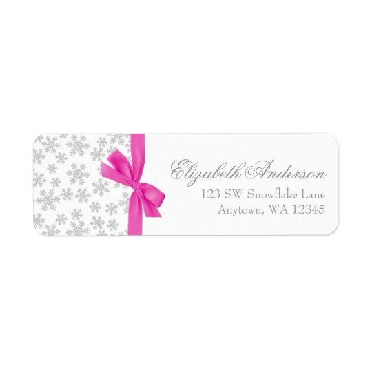 Silberne Schneeflocke-Rosa-Bogen-Adressen-Etikette