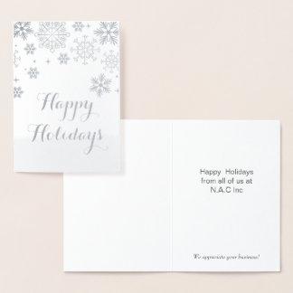 Silberne Schneeflocke-Unternehmensfeiertags-Gruß Folienkarte