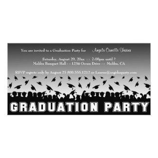 Silberne Steigungs-Abschluss-Party-Silhouette lade Bild Karte