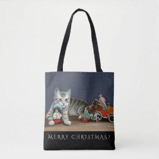 Silberne Tabby-Katze und viktorianische Tasche