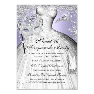 Silberne u. lila Prinzessin Masquerade Sweet 16 12,7 X 17,8 Cm Einladungskarte