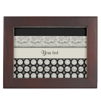 Silberne u. schwarze Streifen und Glitter-Stellen Erinnerungsdose