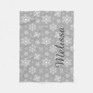 Silberne Weihnachtsschneeflocke-personalisierter Fleecedecke
